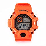 LCLrute Mode Kinderuhr Quarz Digital Sportuhren LED Military Silikon Wasserdichte Armbanduhr (Orange)