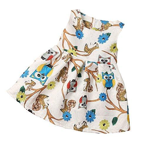 ( Amlaiworld Mädchen bunt Karikatur Eule drucken kleid Baby Gemütlich Ärmellos blusen party dress mode kinder prinzessin niedlich sommer kleider,2-7 Jahren (5 Jahren, Weiß))