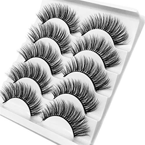 SMILEQ® 3D Wimpern Imitat Nerz Natürliche Dicke Falsche Wimpern 5 Paar (5 Paare, H)