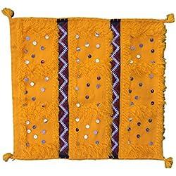 56x 50cm–marroquí boda manta funda de cojín con lentejuelas–Mano Wooven lana–amarillo