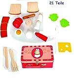 Hape International Köfferchen mit Schneide-Lebensmitteln 21 Teile von Woody Holzspielzeug Ei, Tomate u.v.m 91115