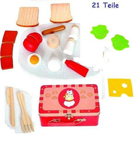 Köfferchen mit Schneide-Lebensmitteln 21 Teile von Woody Holzspielzeug Ei, Tomate u.v.m 91115