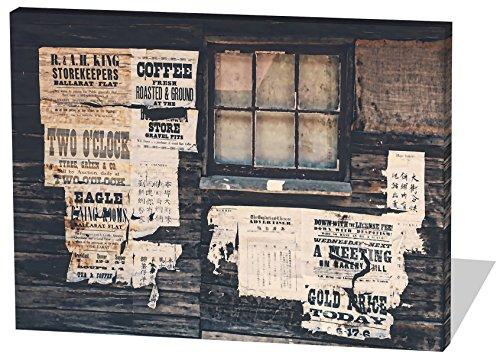 Wild West Style, Gemälde Effekt, schönes und hochwertiges Leinwandbild zum Aufhängen in XXL - 80cm x 60cm, echter Holzrahmen, effektiver Pigmentdruck, modernes Design für Ihr Büro oder (West Wild Kostüm Bilder)