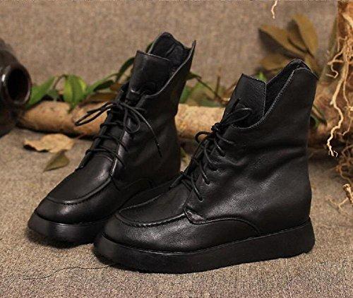 stivali di pelle delle donne allinterno Aumento stivali alti stivali Martin stivali monostrato black velvet in - spot