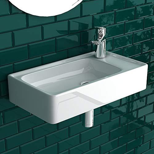 Piccolo lavandino sospeso con troppopieno in ceramica sanitaria di alta qualità, lavabo angolare, bianco, mini lavabo con lavabo, lavabo per ospiti, WC rettangolare,