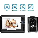 """Excelvan 810FG11 Video Portero Timbre Intercomunicador (7"""" Monitor, Impermeable, TFT LCD, Cámara de Infrarrojos, Door Phone Wired)"""