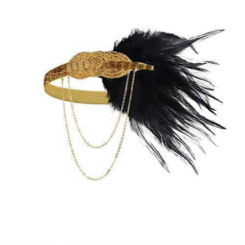 BABEYOND Frauen-schwarzes Feder-Stirnband 1920s Kopfstück-Weinlese-Haar-Zusätze bördelte (Und Flapper Gold Schwarz Kostüm)