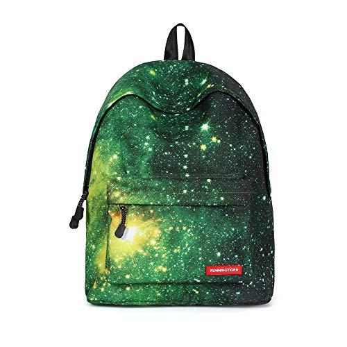 Miya System Ltd Damen Segeltuch Rucksack, Segeltuchrucksack Rucksacks zufälliger Retro- Art und Weise Wilder, Reisetasche des großen Rucksacks der Reisetasche des Schulrucksacks-Grüner Sternenhimmel
