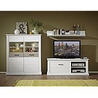 Stella Trading TV Wohnlösung Inklusive LED Beleuchtung, Pinie Hell Landhaus  Wohnprogramm Wohnwand Set