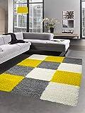 Carpetia Shaggy Teppich Hochflor Langflor Bettvorleger Wohnzimmer Teppich Läufer Karo gelb grau Creme Größe 120x170 cm