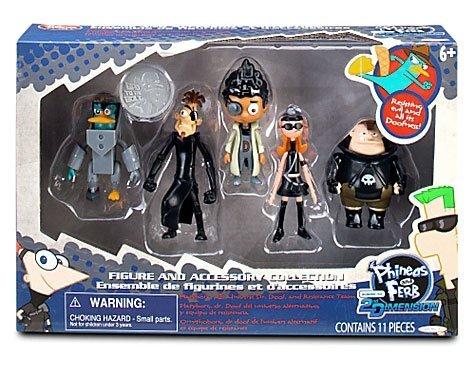 Jakks Pacific Disney Phineas Ferb Dekofiguren #1 Platyborg, Alt Universe Dr. Doof, Buford Van Stomm, Karl der Intern Candace Flynn by
