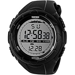 Bozlun Men's Digital Sports Watch with Pedometer Waterproof Auto Date Alarms LED Backlight Stopwatch - Black
