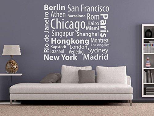 Wandtattoo-bilder® Wandtattoo Metropolen Nr 1 Länder Städte Kontinente Skylines New York Hongkong Paris Berlin Sydney Maimi Istanbul Größe 60x50, Farbe Schwarz (Bild Der Stadt)