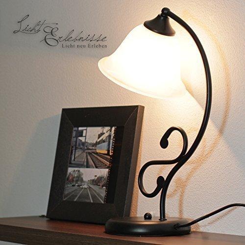 Landhaus nero opaco lampada da tavolo con vetro alabastro 1/5/918 lampada da tavolo in stile rustico