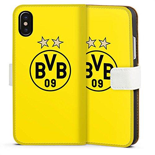 Apple iPhone 7 Hülle Premium Case Cover BVB Borussia Dortmund Sterne Sideflip Tasche weiß