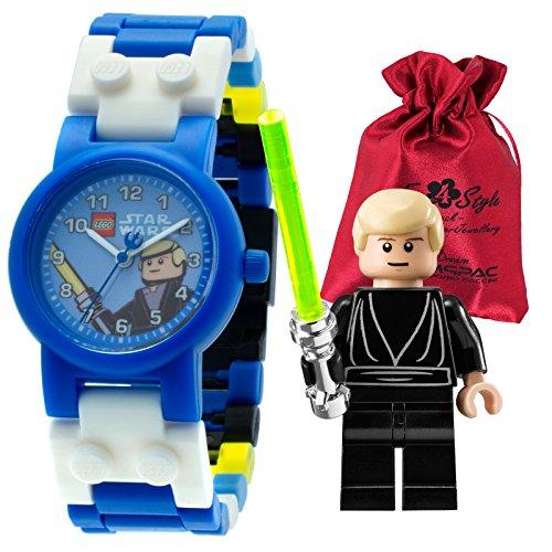 Lego Luke Skywalker Kinder-Armbanduhr Lego Star Wars blau weiß gelb inkl. Säckchen Kunststoffband Quarzuhr ULE8020356