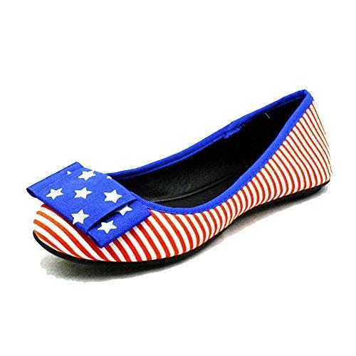 Pavillon Bleu américaine / Strié rouge chaussures plates / pompes Bleu