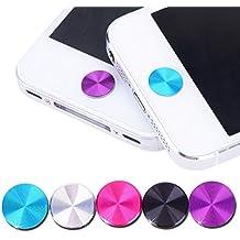 Jungen 5Pcs espiral pegatinas de botones de metal para iPhone 5y 5g, 5C, 5S, 4y 4S iPad 12Nuevo iPad 34iPad Air 5iPad Mini Plata Azul y Rosa Negro y morado