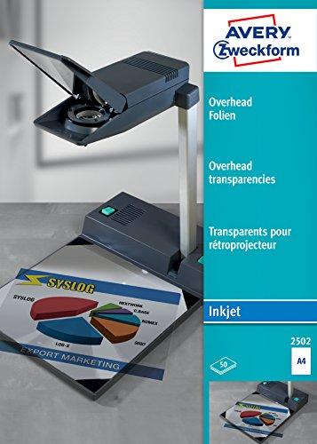 AVERY Zweckform 2502 Overhead-Folien (A4, spezialbeschichtet, stapelverarbeitbar, Stärke: 0,11 mm) 50 Blatt