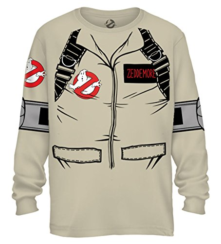 Ghostbuster ZEDDEMORE Adult LONG SLEEVE Costume T-Shirt With Back (Marshmallow Outfit Man)