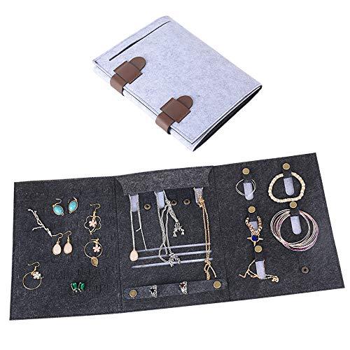 ca. 9,5 * 20cm / 18,5 * 25,5cm Schmucktasche Filz für Ohrringe Ringe Armband Ketten Aufbewahrung Tasche Ohrringhalter Schmuckaufbewahrung Schmuck Organizer Aufbewahrungstasche Schmuckrolle