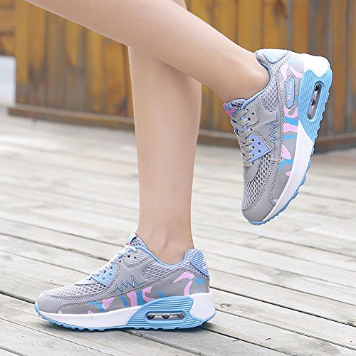wealsex Femme Basket Mode Chaussure Jogging Course Fitness Sport Chaussure Air Taille 35-40 Gris
