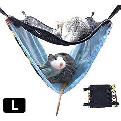 Bogget Rongeur hamac, lit Suspendu Nest Hamac Double Mesh Respirant hamac Rongeur Coton Cage Nest