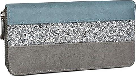 styleBREAKER Geldbörse mit Quer verlaufendem Pailletten Streifen, umlaufender Reißverschluss, Portemonnaie, Damen 02040057, Farbe:Blau /