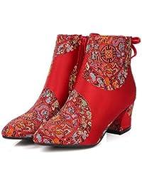 NSXZ Botas cortas del bordado de la mano del estilo chino de la mujer que casan los zapatos, A, 38