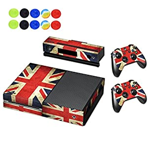 Skin For Xbox One - Morbuy Vinyl Full Body Protective Sticker Cover Decal For Microsoft Xbox One Console & 2 Dualshock Controller Skins + 10pc Silicone Thumb Grips