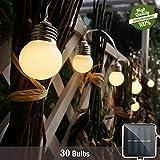 Guirlande Lumineuse Solaire, Morbuy Étanche Boules Cristal pour Extérieure 8m /30 LED 8 Modes de Travail pour Jardin terrasse Fête de Noël Mariage (8m/ 30 lumière)...