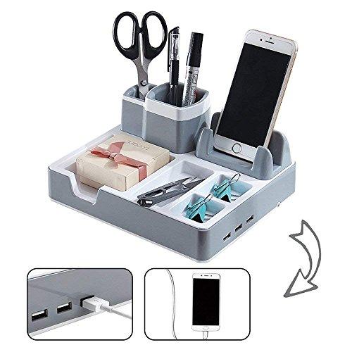 Büromaterial Desk Organizer Schreibtisch Ordnungssystem Mit 3 USB Anschlüssen Und Ladefunktion, Passend Für iPhone, Samsung u. a. Smartphones 3 USB-Anschlüsse