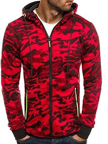 OZONEE Herren Sweatshirt Pullover Kapuzenpullover Camouflage Pulli Sweats J.STYLE DD99-10 M ROT
