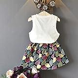 b282ca159505 Vestido de niñas,❤ Manadlian Bebé Niña Flor Impresión Sin Mangas Mezclilla  Vestidos Vestido para Bebés Ropa Impresa de Camisa (BlancoA, 5-6 años)