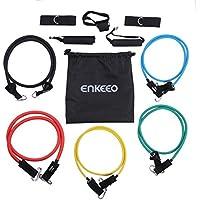 Enkeeo - Juego de 5 Bandas Elásticas Resistencia Cinta Ejercicio (Material de látex natural, Vario nivel resistencia, accesorios completos para entrenamiento)