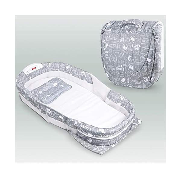 Runningfish Portable Sleeping Basket for Travel Baby Bed Cot Foldable Infant Sleeper with Music Runningfish Soothing sounds and light unit featuring lullaby to lull your baby to sleep. Volume control and automatic shut-off allows the perfect setting for your baby's comfort. Two rigid, vented wall units help serve as a barrier between baby and adult bedding and rollover. Folds in seconds into a small case for compact and lightweight portability. 5