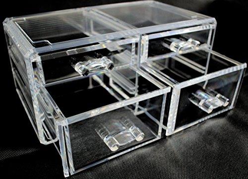 Organizer per cosmetici in materiale acrilico 4 cassetti - Porta trucchi professionale ...