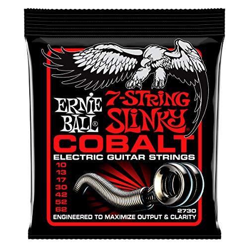 Cordes pour guitare électrique à 7 cordes Slinky Cobalt Top Erny Ball Skinny Top - Calibre 10-62