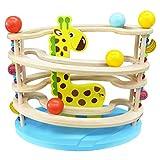 Kugelbahn Holz Murmelbahn Holzspielzeug-Rollbahn aus Holz mit 3 Kugels Spielzeug Giraffe Motorikspielzeug für Mädchen Junge Kinder ab 12+ Monate