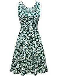 QUINTRA Women Summer Vintages Sleeveless Beach Bohe Casual Floral Tank Short Mini Dress