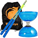 Blue Cyclone Quartz 2 Triple Bearing Diabolo & Blue Superglass Diablo Sticks Set with Firetoys? Bag by Firetoys Diabolo