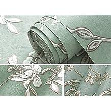 Europea simple lujo alta calidad tela Póster mural de papel para pared papel pintado moderno papel de parede tapete TV Sala Dormitorio Papel para pared decoración para el hogar 53x 1000cm, Wallpaper only, Lake green 280305