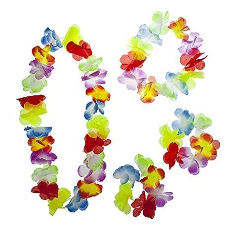 Lux Accessoires Multicolore Halloween Tropical Hawaiian Lei Fleur Floral Lot de 4pièces