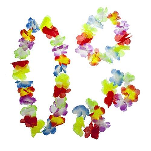 LUX Zubehör Multicolor Halloween Tropical Hawaiian Lei Blumen Set 4 (Kleine Mädchen Birthstone Halsketten)