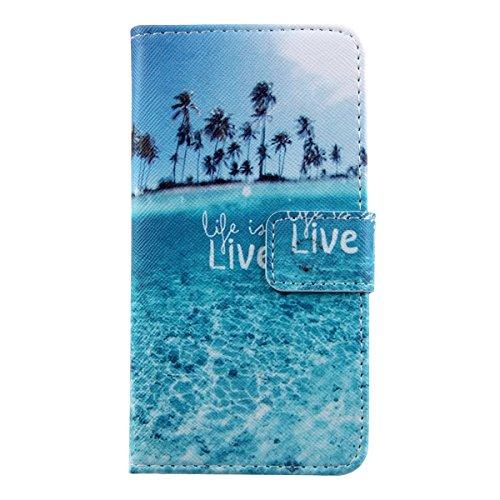 Ukayfe Custodia iPhone 6 Plus/6S Plus in Pelle, Portafoglio / wallet / libro Flip elegante e di alta qualità con porta carte di credito e banconote Stampa creativa Chiusura Magnetica Protettiva Cover  blue Ocean View