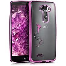 kwmobile Funda para LG G Flex 2 - Case de sílicona TPU - Cover protector trasero claro Diseño hada rosa fucsia transparente