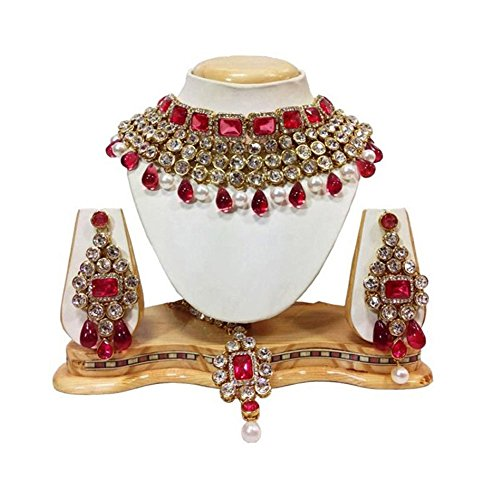 Shining Diva Traditional Bridal Crystal Necklace Set / Jewellery Set with Maang...