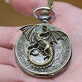 xiaoaose® Charm Dragon Rom Retro Watch Charm Drachen Anhänger Uhr Halskette Anhänger Charm Herren Taschenuhr Taschenuhr Halskette Anhänger einfach rund