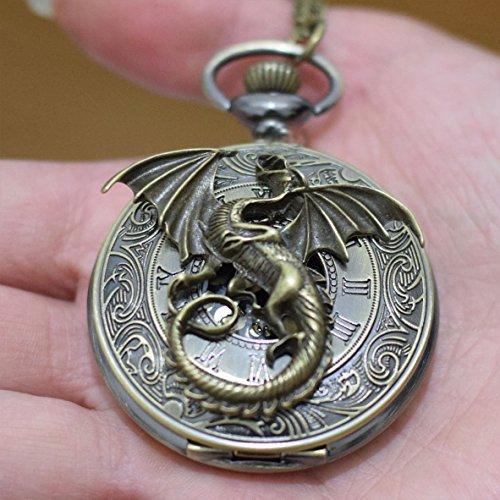 xiaoaose® encanto Dragon Roma Retro Watch encantos colgante de reloj de dragón collar colgante hombre reloj de bolsillo reloj de bolsillo collar colgante simple redondo