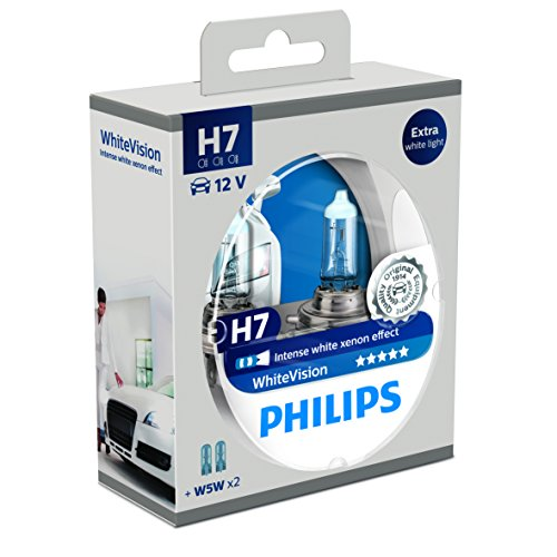 Philips 12972WHVSM White Vision Lampada Alogena H7, 12V, 60% di Luce in Più sulla Strada, 4300K